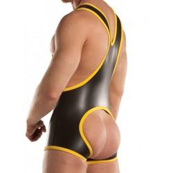 665 Leather Neoprene Open Crotch Wrestling Singlet Black/Yellow (T3349)