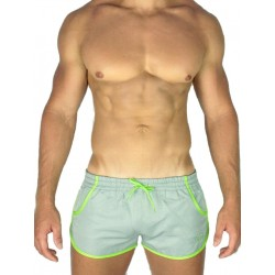 2Eros Icon Shorts Grey/Lime (Zyzz Shorts) (T0998)