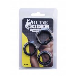 RudeRider Mini Cock Rings Black (3-Ring-Set)
