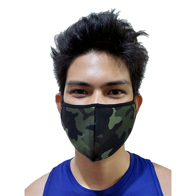 GB2 Designer Face Mask Camo Green One Size (T7654)