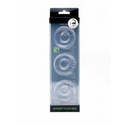 Sport Fucker Chubby Rubber 3-pc Cockring-Set Clear (T4619)
