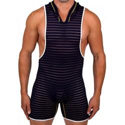Pistol Pete Infinity Sleeveless Hooded Bodysuit Navy (T5079)
