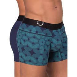 Rounderbum Package Lift Trunk 2-Pack Underwear Geometric Blue (T4847)